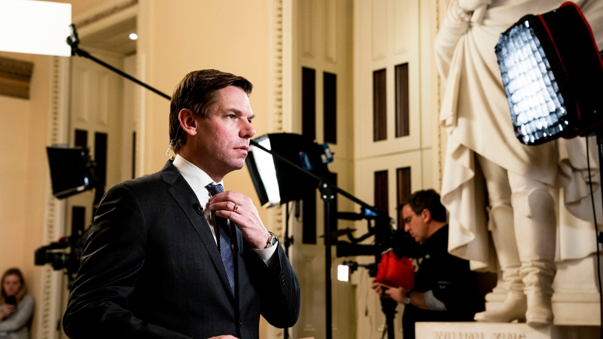 Representative Eric Swalwell of California helped investigate evidence against the president during his first impeachment in 2019.Credit...Anna Moneymaker/The New York Times